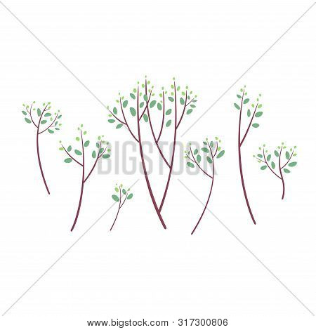 Set Of Simple Tree Brunches With Green Leaves And Light Green Buds