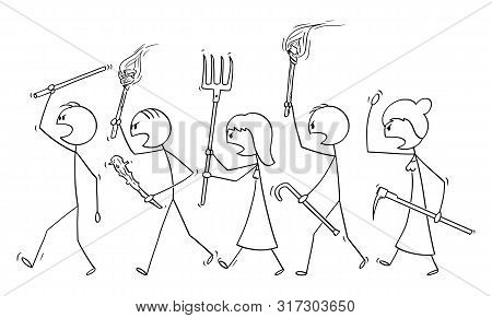 Vector Cartoon Stick Figure Drawing Conceptual Illustration Of Angry Mob Characters Walking With Tor