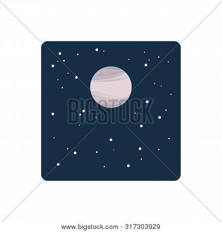 Powdery Pink Moon In Starry Night Sky