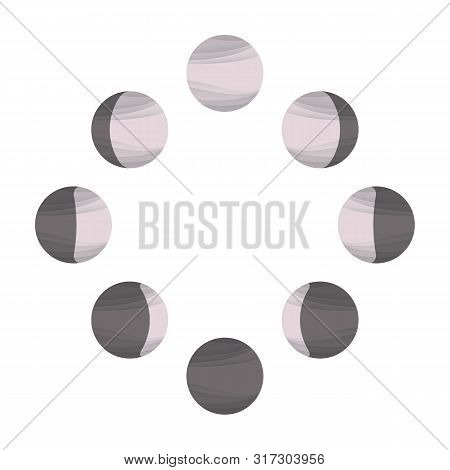 Powdery Pink Moon Icons, Phases Of The Moon