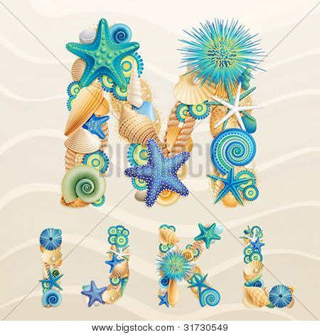 Vector sea life font on sand background. Check my portfolio for other letters, and numbers.