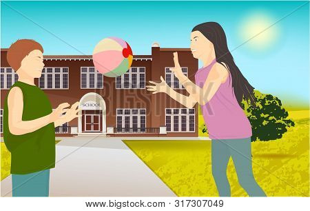 Children Playing With A Ball In The Park, On Nature. Illustration Of School Building