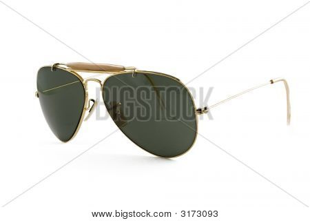 Sunglasses Aviator Style Isolated On White, Stock Photo