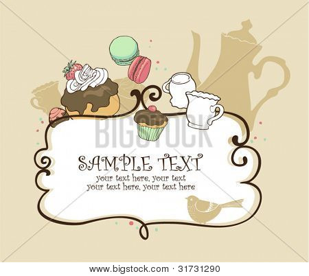 card with pot, cups and sweets