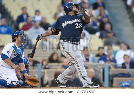 LOS ANGELES - MAY 16: Milwaukee Brewers 1B Prince Fielder #28 takes a swing during the Major League Baseball game on May 16 2011 at Dodger Stadium in Los Angeles.