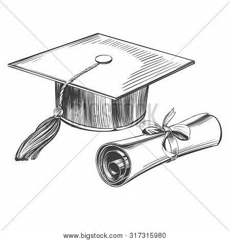 Graduate Cap And Diploma, Education Vintage Set Hand Drawn Vector Illustration Realistic Sketch