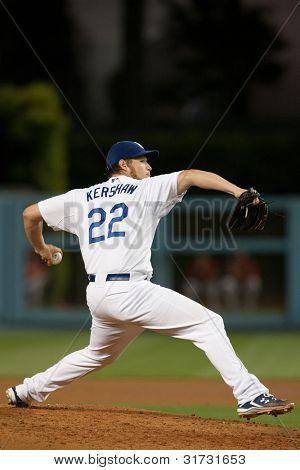 LOS ANGELES - 13 de maio: Los Angeles Dodgers P Clayton Kershaw #22 durante o jogo MLB entre a Ariz