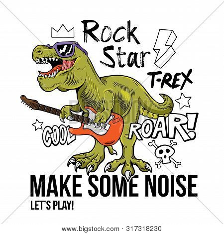 Funny Children Rock Star T-rex Tyrannosaurus Rex Dino Dinosaur Play On Rock Guitar. Cartoon Characte