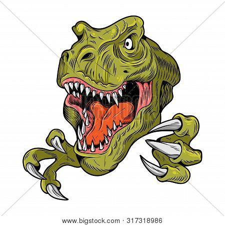 T-rex Tyrannosaurus Rex Big Dangerous Head Of Dino Dinosaur. Cartoon Illustration Drawing Engraving
