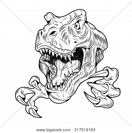 T-rex Tyrannosaurus Rex Big Dangerous Head Of Dino Dinosaur. Cartoon Illustration Drawing Engraving