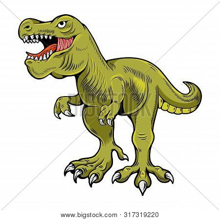 T-rex Tyrannosaurus Rex Big Dangerous Dino Running Dinosaur. Cartoon Illustration Drawing Engraving