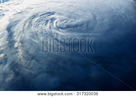Huge Typhoon, View From Space, From A Space Station. Elements Of This Image Were Furnished By Nasa F
