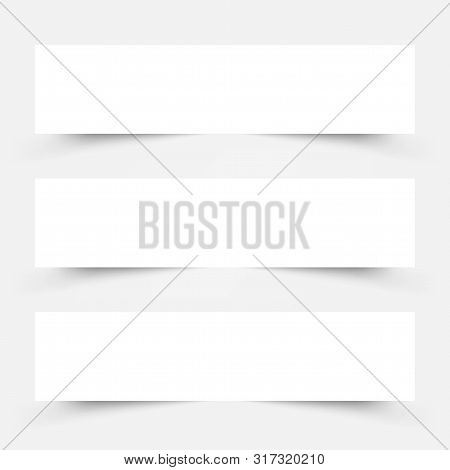 White Frame Banners With Shadows On The Gray Background. Eps 10 Vector
