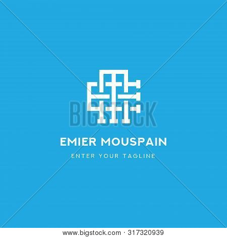 Logo Monogram Letter Em, Concept Letter E + M Minamalist Design.