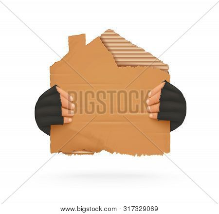 Homeless. Man Holding Up Blank Cardboard Sign. Homeless Holding A Cardboard House. Isolated Vector I