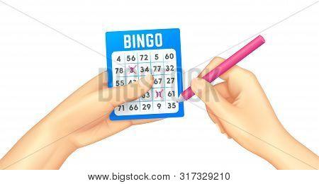 Bingo Card In Human Hands Realistic. Lottery Card. Bingo Gambling Games. Isolated Vector Illustratio