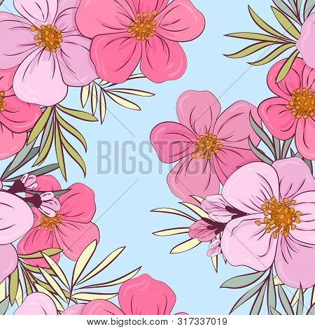 Tropical Flowers And Leaves Floral Textile Seamless Pattern. Summer Print With Flowers And Exotic Pl