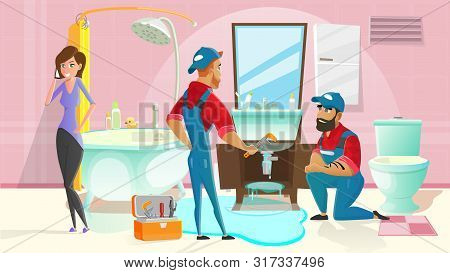 Home Plumber Service Cartoon Vector Concept With Two Plumbers In Uniform, Working In Home Bathroom,