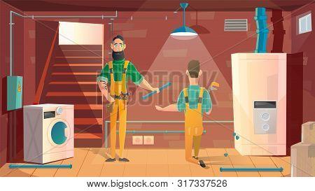 Home Plumbing, Repair Or Appliances Installation Service Cartoon Vector Concept. Workers In Uniform