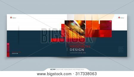Horizontal Brochure Template Layout Design. Landscape Corporate Business Annual Report, Catalog, Mag