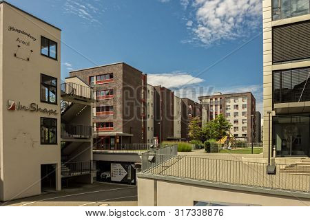 Esslingen,germany - August 11,2019:hengstenberg Areal Behind The Modern Office Building Is A Colorfu