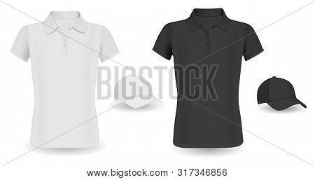 Baseball Cap Template And Polo Shirt Mockup. Black And White Vector Tshirt Isolated On Background. R