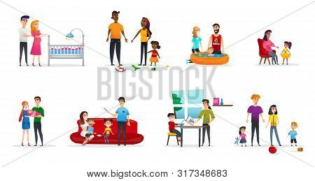 Horizontal Flyer Set Parenting, Cartoon Flat. Husband And Wife Are Preparing For Appearance Child. R