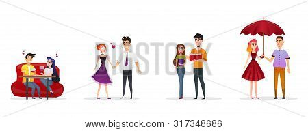 Poster Set Happy Couples In Love Cartoon Flat. Young People On Romantic Date In Restaurant. Happy Gu