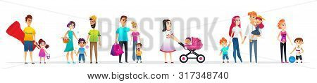 Banner Character Collection Family Walk Cartoon. Father And Daughter Walking Inflatable Sailor. Moth