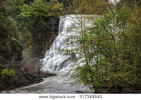 Waterfall In Ithaca (ny, Usa)
