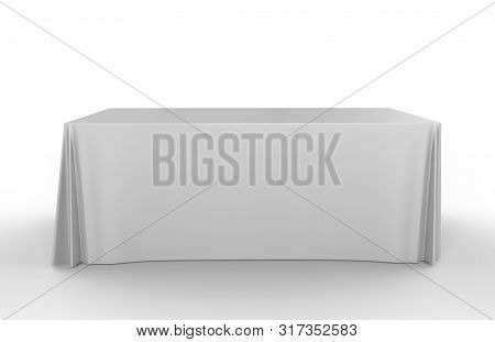 Trade Show Exhibition Advertising Runner Table Adjustable Cloth  Banner Or Table Cover. 3d Render Il