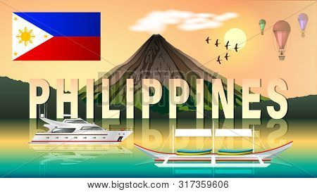 The Philippine Tourism Landscape. Evening Composition With Beautiful Sea Views, A Volcano, Aerostats