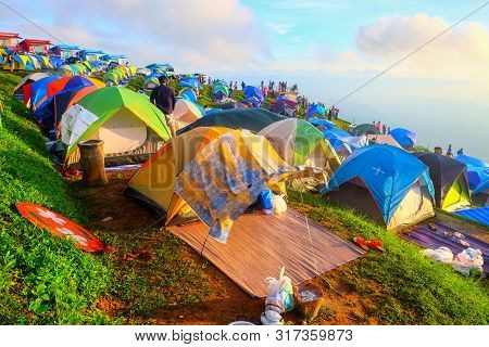 Tourist With Tents And Accommodation For Tourists Who Come To Relax And Watch The Fog In The Morning