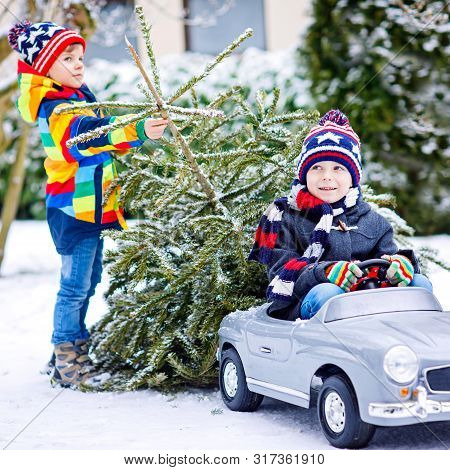 Two Little Kid Boys Driving Toy Car With Christmas Tree. Happy Children, Siblings, Twins, Friends In