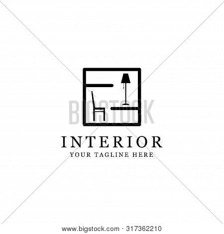 silhouette interior logo, minimalist room isolated white background, interior design icon isolated on white background from interior furniture collection. interior design icon trendy and modern interior design symbol for logo, web, app. interior design ic