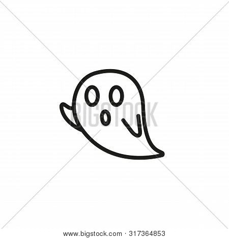 Ghost Line Icon. Creature, Poltergeist, Supernatural. Paranormal Activity Concept. Can Be Used For T