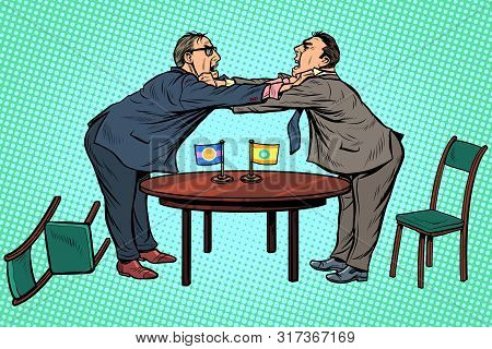 Policy Diplomacy And Negotiations. Fight Opponents. Pop Art Retro Vector Illustration Drawing