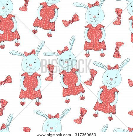 Seamless Pattern Bunny Girl. Sweet Baby Girl Shower Card.