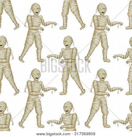 Seamless Pattern Egyptian Mummy Boy In Halloween Mummy Costume Laughing Scarring.