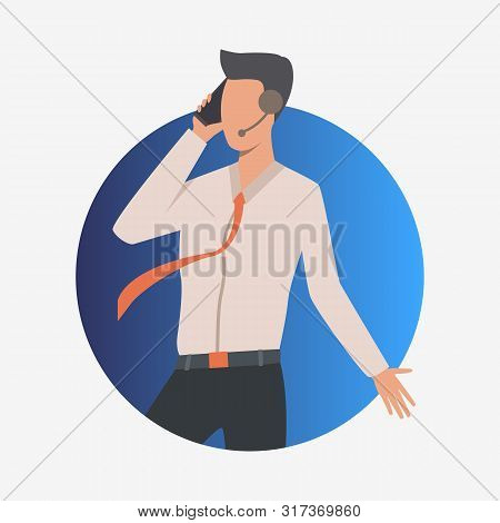 Call Center Operator Speaking On Phone And Gesticulating. Customer Support Phone Worker With Headset