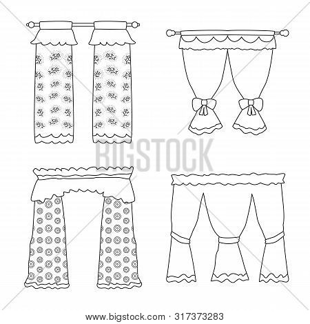Isolated Object Of Fabric And Decoration Sign. Collection Of Fabric And Cornice Stock Symbol For Web