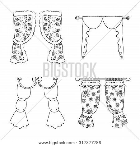Vector Design Of Fabric And Decoration Icon. Collection Of Fabric And Cornice Vector Icon For Stock.