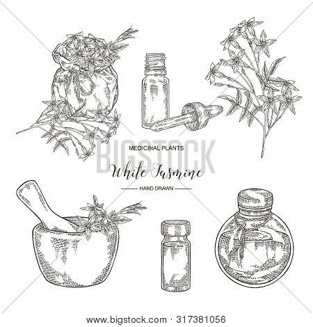 White Jasmine Set. Jasminum Officinale Flowers And Leaves With Textile Bag, Mortar And Glass Botlles