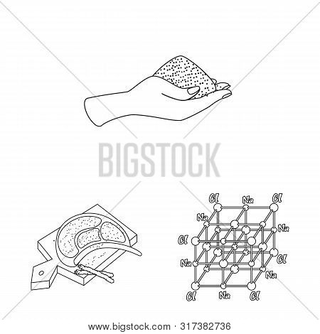 Vector Illustration Of Sodium And Mineral Sign. Collection Of Sodium And Kitchen Vector Icon For Sto