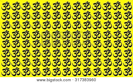 Yellow Background With Traditional Indian Symbols: Mantra, Om, Ganesh. Seamless Pattern With Spiritu