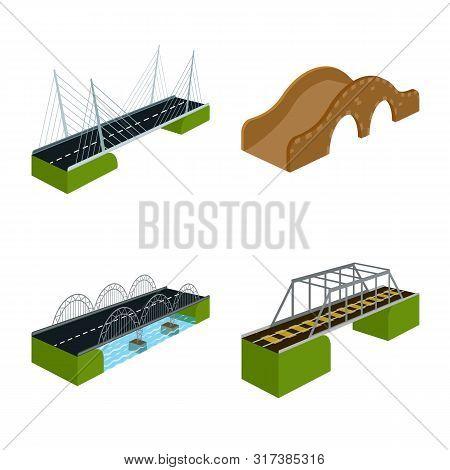 Vector Illustration Of Bridgework And Architecture Logo. Collection Of Bridgework And Structure Vect