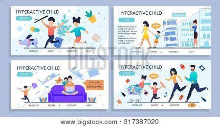 Hyperactive Children Flat Design Landing Page Set. Cartoon Kids With Attention Deficit Symptoms. Fam