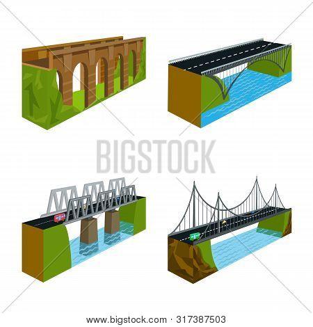Vector Design Of Bridgework And Architecture Symbol. Set Of Bridgework And Structure Stock Symbol Fo