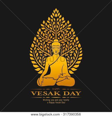 Happy Vesak Day - Gold Buddha Meditate Under Bodhi Tree On Dark Background Vector Design