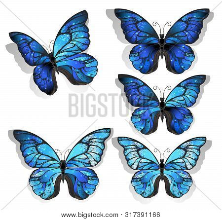 Set Of Artistically Painted Blue Butterfly Morpho Textured With Iridescent Wings On A Light Backgrou